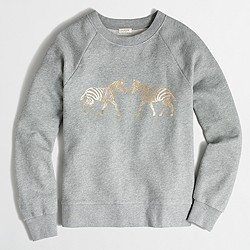 Factory metallic zebra sweatshirt