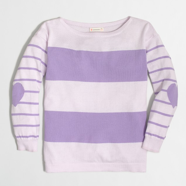Girls' striped heart elbow-patch popover sweater