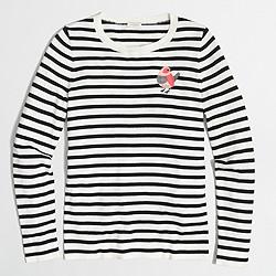 Striped embroidered bird Teddie sweater