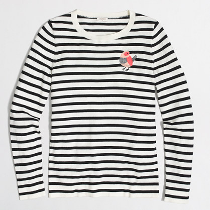 Striped embroidered bird Teddie sweater