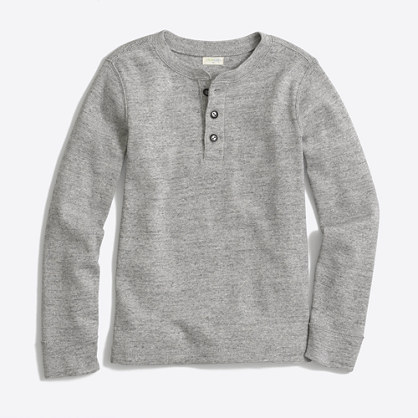 Boys' long-sleeve twisted rib henley