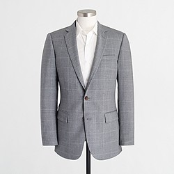 Factory Thompson suit jacket in windowpane worsted wool