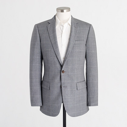 Thompson suit jacket in windowpane worsted wool
