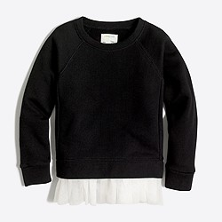 Girls' tulle-hem sweatshirt