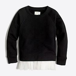 Girls' tulle-hem sweatshirt