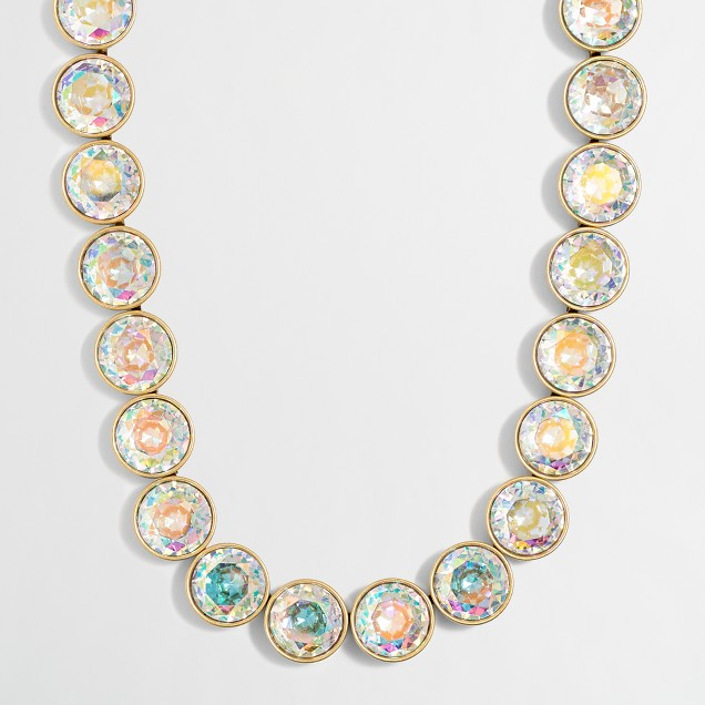 Iridescent crystal dots necklace
