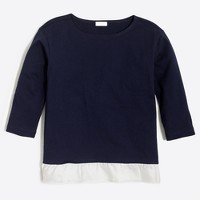 Girls' three-quarter sleeve ruffle-hem T-shirt