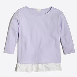 Girls' three-quarter sleeve ruffle-hem T-shirt