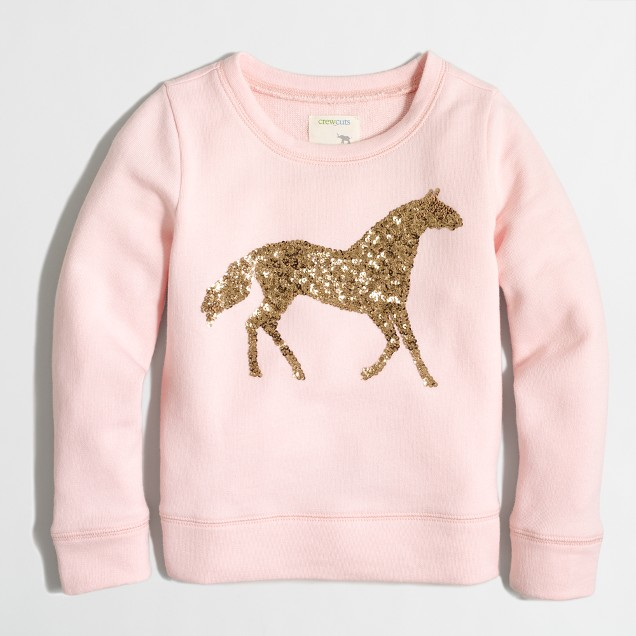 Girls' sequin horse sweatshirt