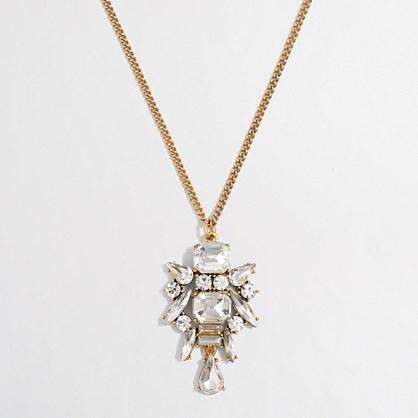 Crystal emblem pendant necklace