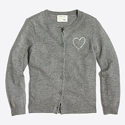 Girls' jeweled heart cardigan sweater