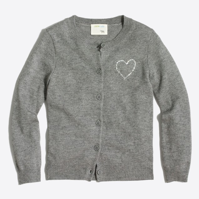 Girls' jeweled heart cardigan sweater