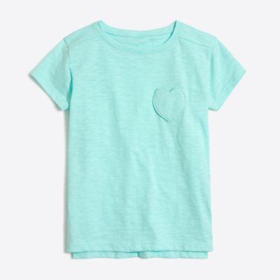 Girls' heart pocket T-shirt factorygirls shirts, t-shirts & tops c