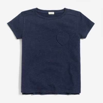 Girls' heart pocket T-shirt factorygirls shirts, t-shirts & tops c