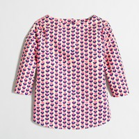 Girls' ink-drop heart button-back shirt