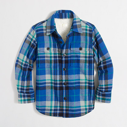 Boys' sherpa-lined flannel jacket