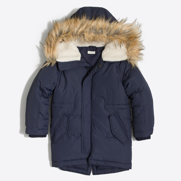 Kids' fishtail puffer jacket with faux-fur trim