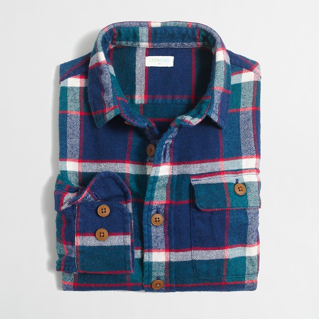 Boys' elbow-patch flannel workshirt