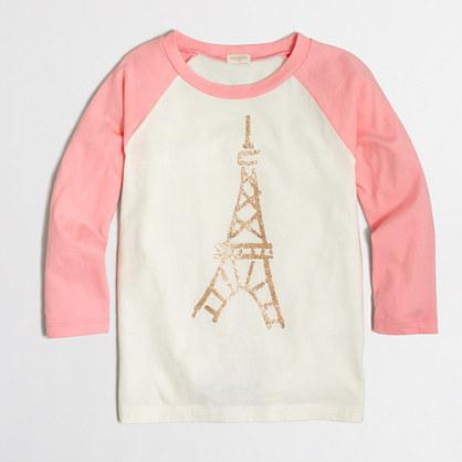 Girls' long-sleeve Eiffel Tower baseball keepsake T-shirt