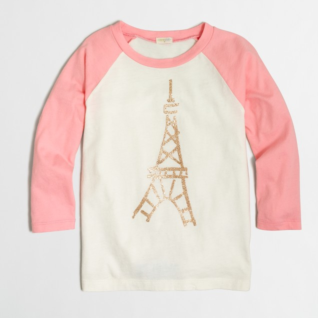 Girls' long-sleeve Eiffel Tower baseball keepsake T-shirt