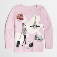 Girls' long-sleeve girl abroad keepsake T-shirt