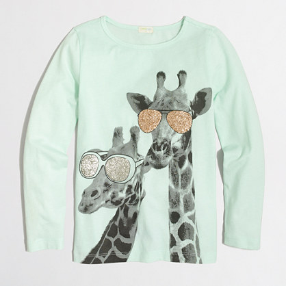Girls' long-sleeve giraffe keepsake T-shirt