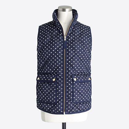 Petite polka-dot puffer vest