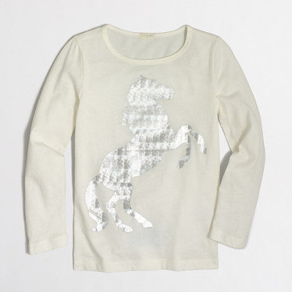Girls' long-sleeve foil horse keepsake T-shirt