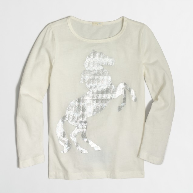 Girls' long-sleeve foil horse keepsake T-shirt