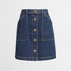 Factory button-front denim skirt