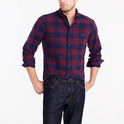 Tall plaid rugged elbow-patch shirt