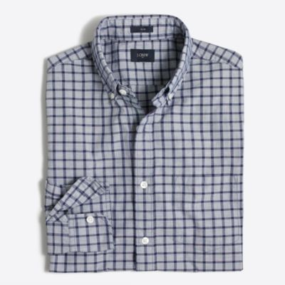 Slim tattersall washed shirt in end-on-end cotton