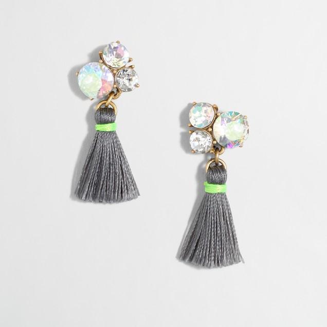 Cluster thread tassel earrings