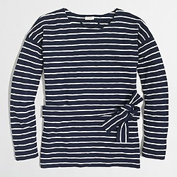 Lightweight striped tie-waist sweatshirt
