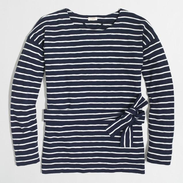 Lightweight striped tie-waist sweatshirt