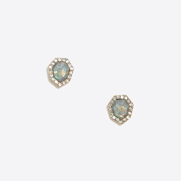 Iridescent geo stud earrings