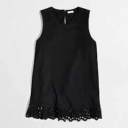 Factory eyelet ruffle tank top