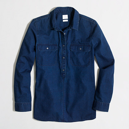 Petite chambray shirt in boy fit