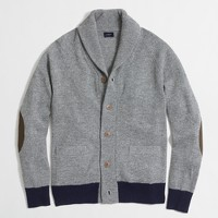 Contrast-ribbed lambswool cardigan sweater