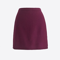 Double-notch wool mini skirt