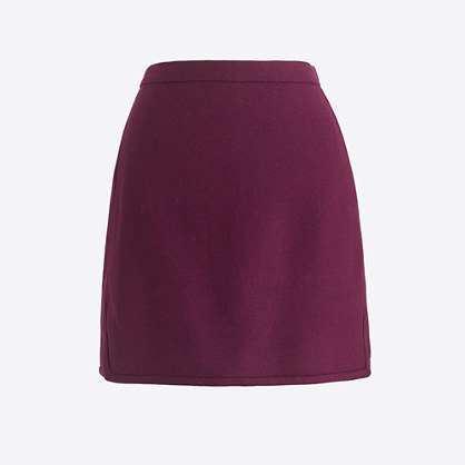 Double-notch wool mini skirt