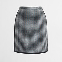 Double-notch houndstooth mini skirt