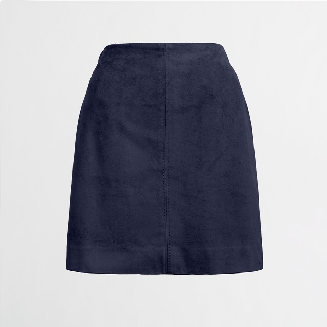 Faux-suede seamed skirt