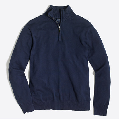 Slim harbor cotton half-zip sweater