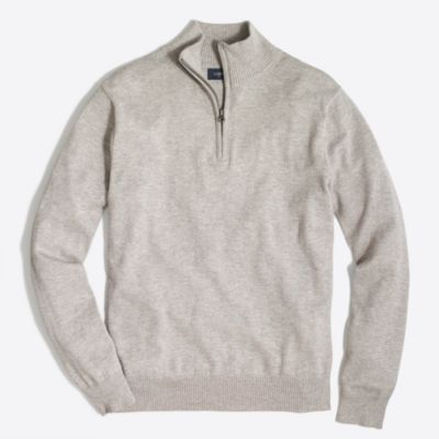 Slim-fit harbor cotton half-zip sweater