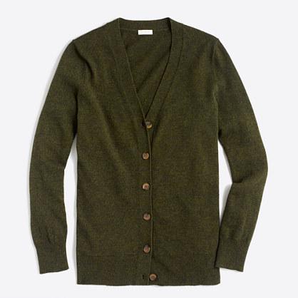 Cotton-wool V-neck cardigan sweater