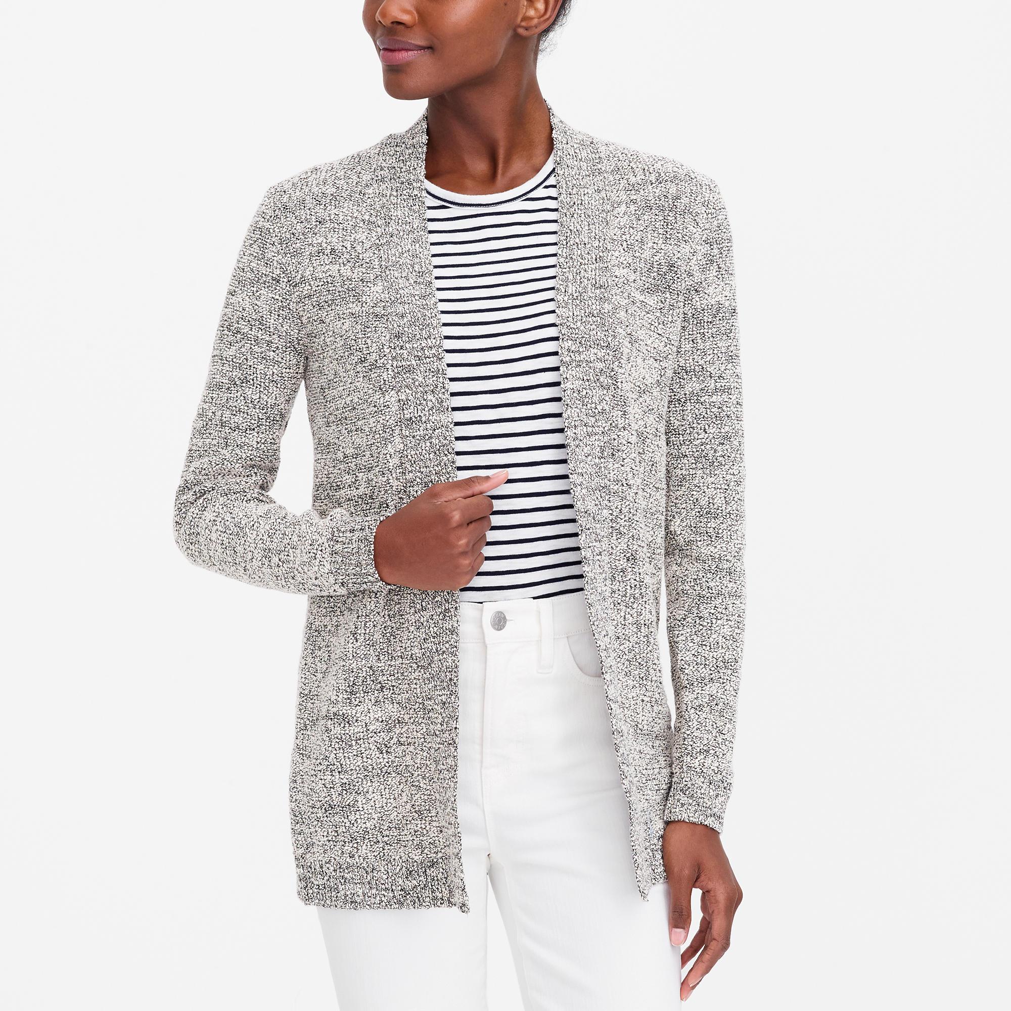 Marled-cotton open cardigan sweater : FactoryWomen cardigans ...