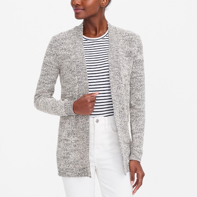Marled-cotton open cardigan sweater