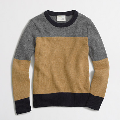 Boys' colorblock crewneck sweater