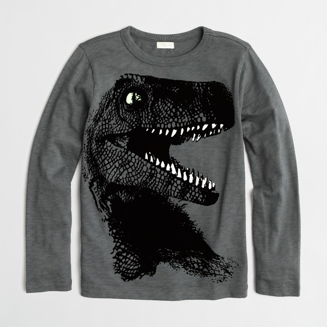 Boys' long-sleeve glow-in-the-dark T-Rex storybook T-shirt